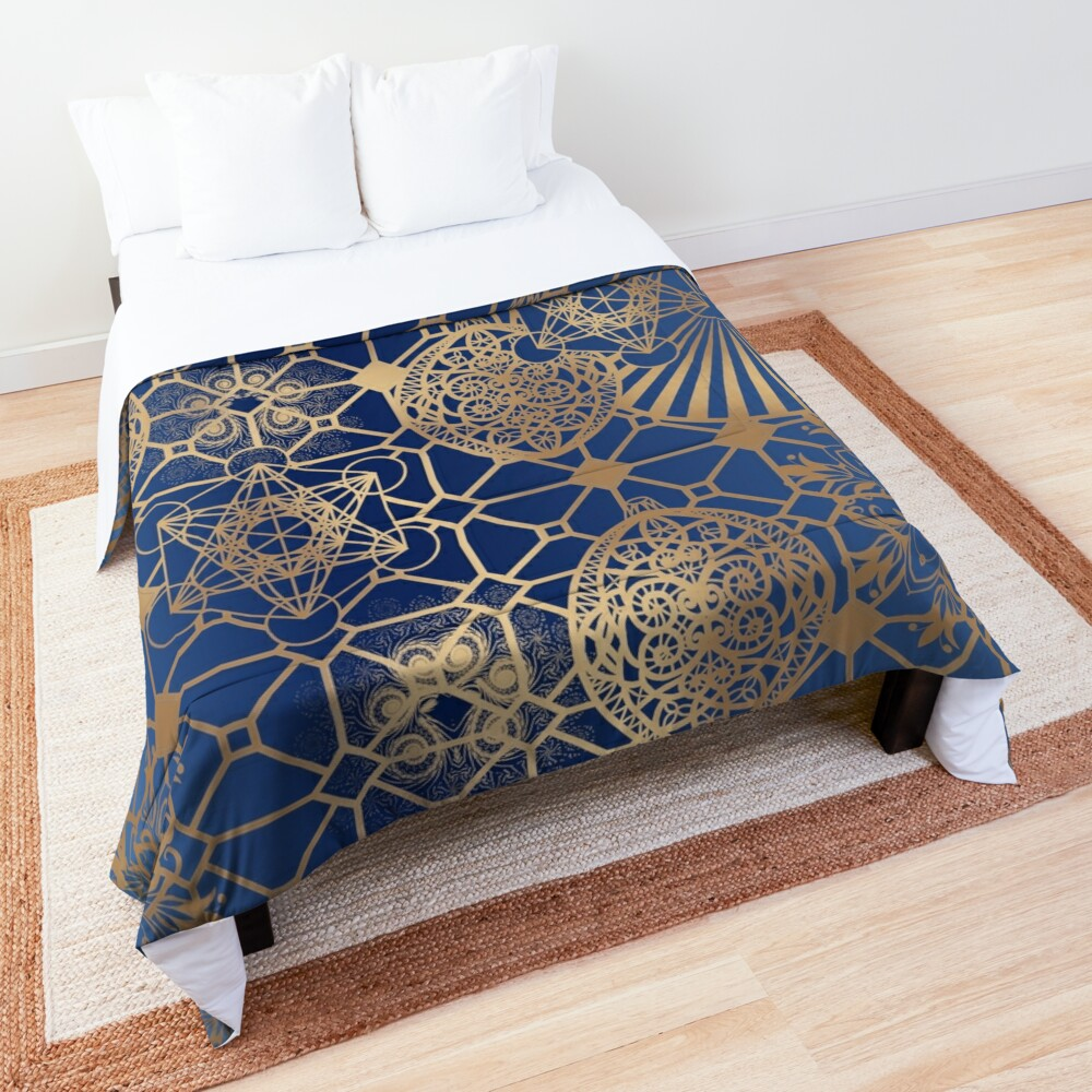 Gold Mandalas and Lace on Blue Comforter
