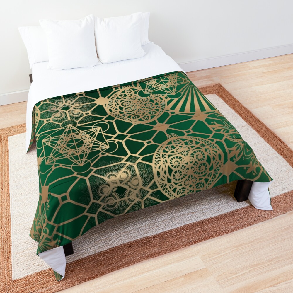 Gold Mandalas and Lace on Eucalyptus Comforter