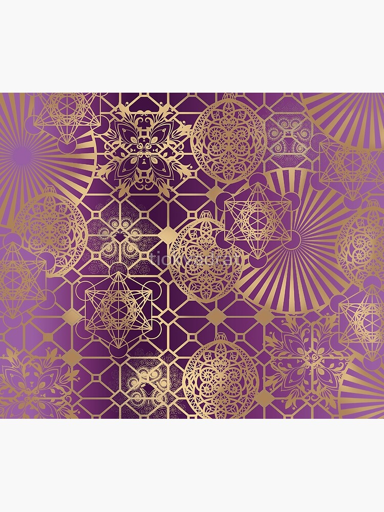 Gold Mandalas and Lace on Purple by tiokvadrat