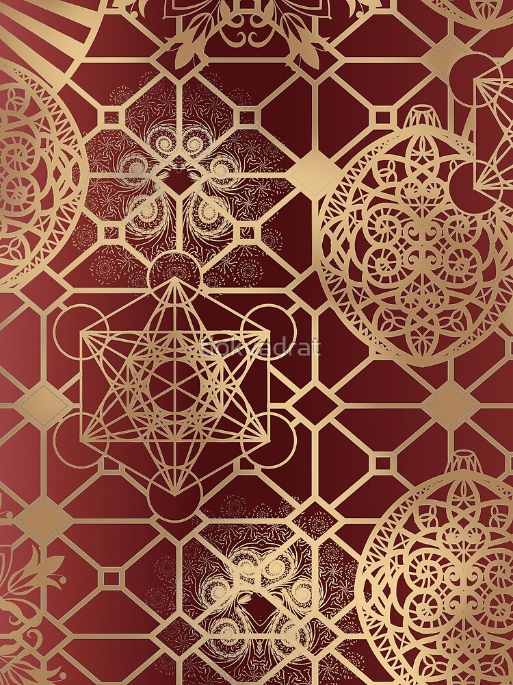 Gold Mandalas and Lace on Salmon Pink | Rich Intricate Filigree Pattern by tiokvadrat