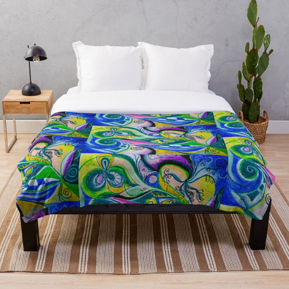 Blue Green Tones Movement Abstract Throw Blanket