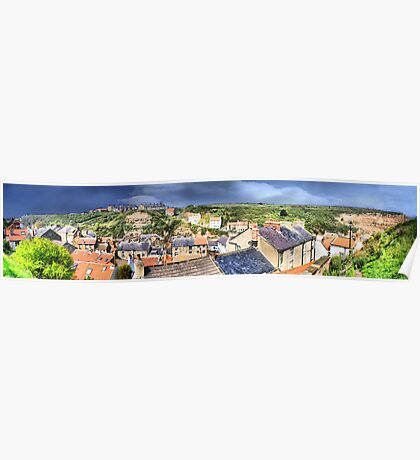 Staithes Rooftops ~ Panorama, HDR Poster