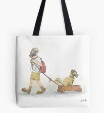 Boy and Dog Tote Bag