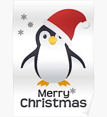 Merry Christmas Penguin Emoji Poster