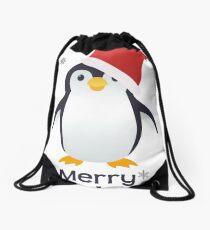 Merry Christmas Penguin Emoji Drawstring Bag