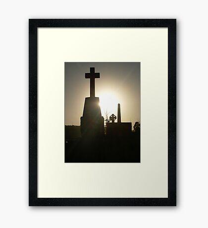 sunset in the cemetery Framed Print