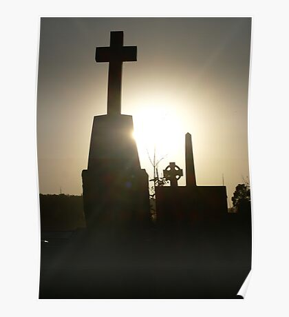 sunset in the cemetery Poster