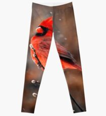 Cardinal in a Snowstorm Leggings