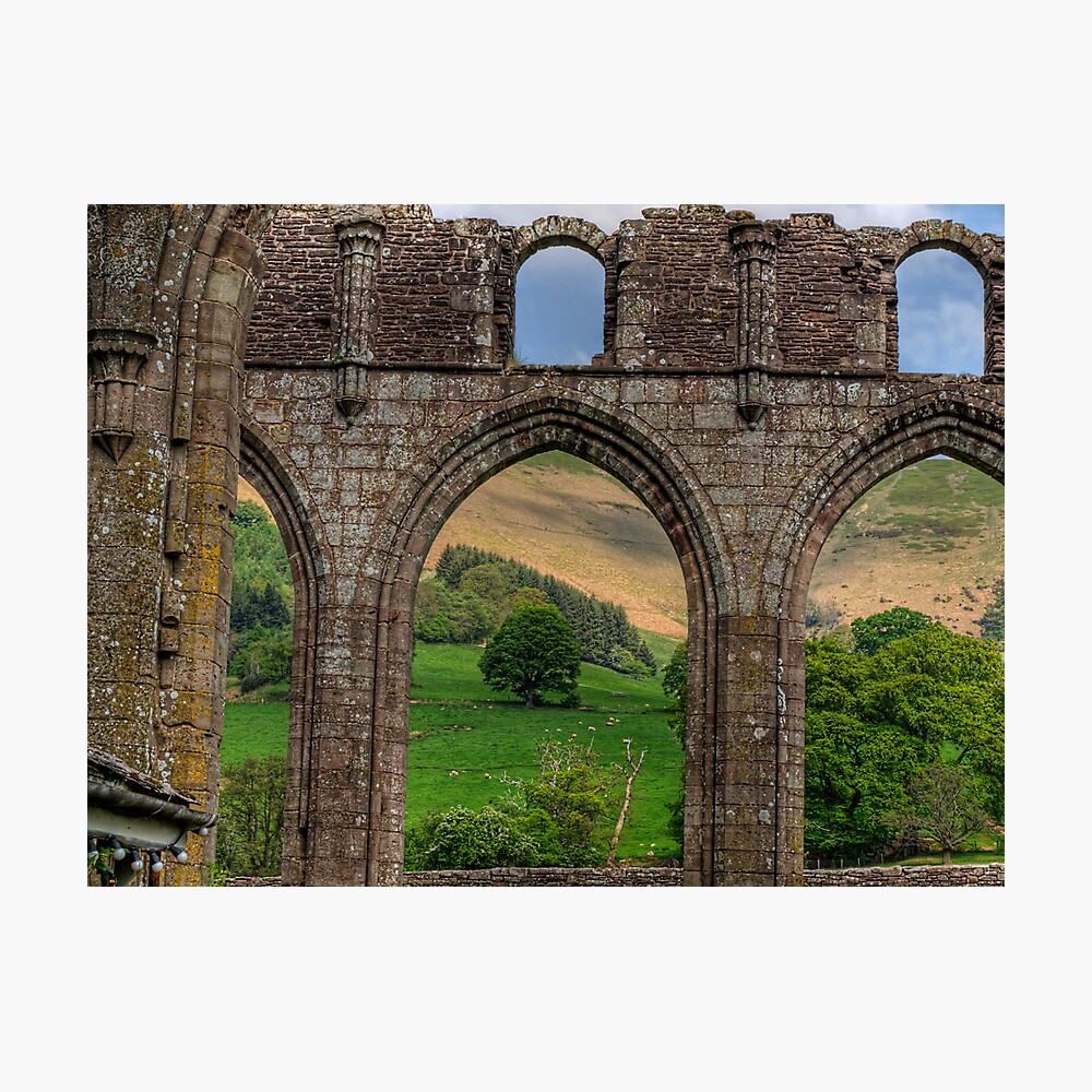 An arch in the ruins of Llanthony Priory - Wales Photographic Print