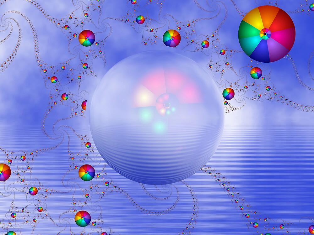 Rainbow Sphere on Blue Lake by Pam Blackstone