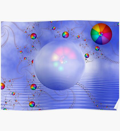 Rainbow Sphere on Blue Lake Poster