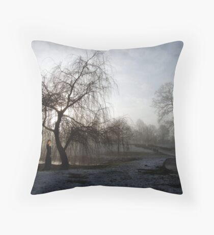 Figure in the Mist Throw Pillow