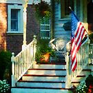 Porch With American Flag by Susan Savad