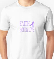 Faith Hope & Love All Cancers Lavender Ribbon  Unisex T-Shirt