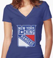 New York F*cking Rangers Logo T-Shirt Women's Fitted V-Neck T-Shirt