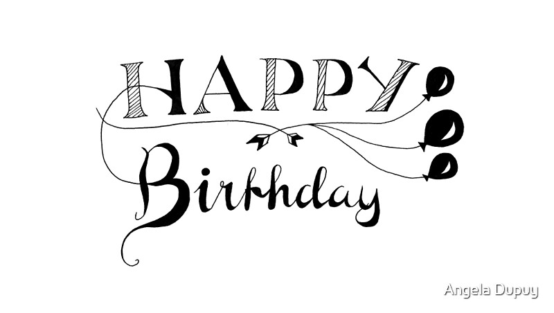 L�minas art�sticas �happy birthday calligraphy� de angela