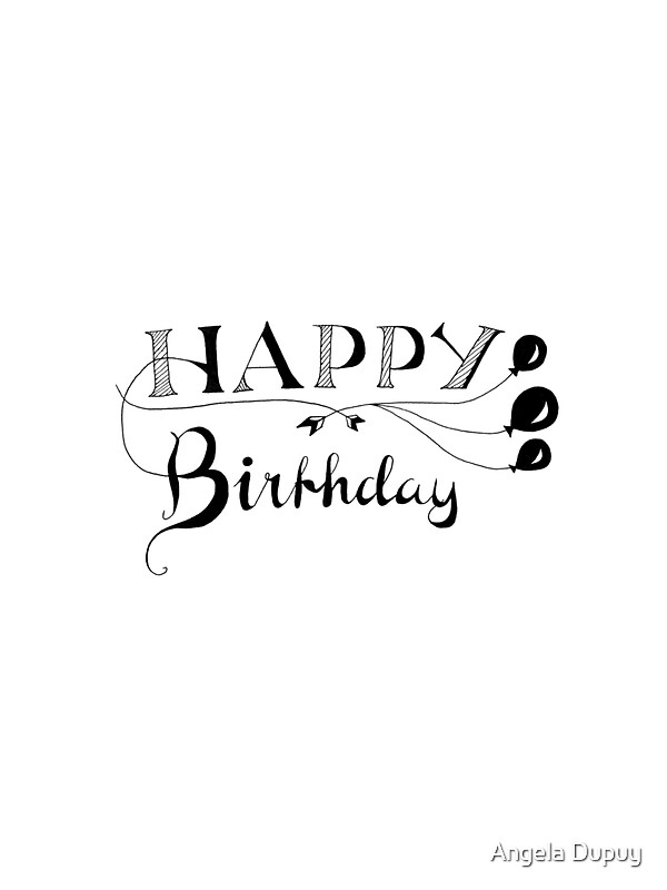 Quot happy birthday calligraphy stickers by angela dupuy