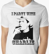 I Party With Charlie Mens V-Neck T-Shirt