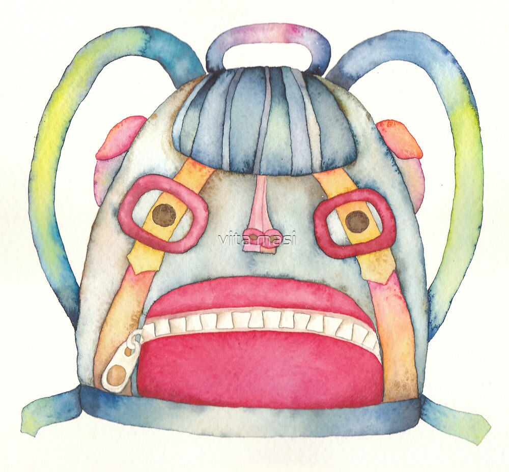 """The backpack scary, illustration of the story """"backpack""""  by vimasi"""