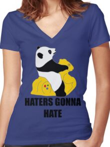 Haters Gonna Hate: Panda Women's Fitted V-Neck T-Shirt