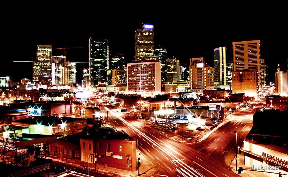 Denver Skyline at Night from Park Ave by designkase