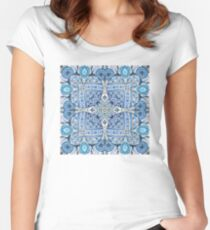 Blue flowers mandala  kaleidoscope Women's Fitted Scoop T-Shirt