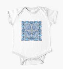 Blue flowers mandala  kaleidoscope One Piece - Short Sleeve