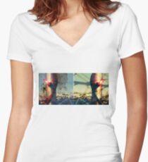 worldline divide Fitted V-Neck T-Shirt