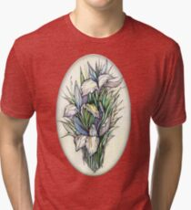 Beautiful iris - Hand draw  ink and pen, Watercolor, on textured paper Tri-blend T-Shirt