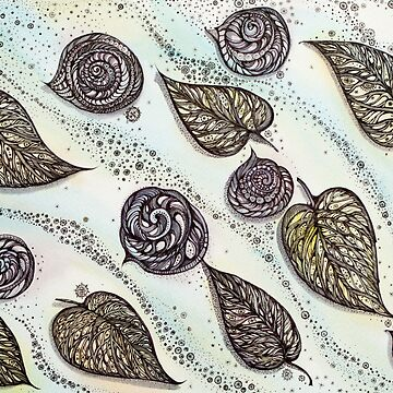 Winter Snails and Leaf.  Hand draw  ink and pen, Watercolor, on textured paper by kanvisstyle
