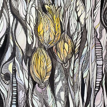 Tulip.Hand draw  ink and pen, Watercolor, on textured paper by kanvisstyle