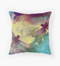 Painting Dragonflies & Orchids. Throw Pillow
