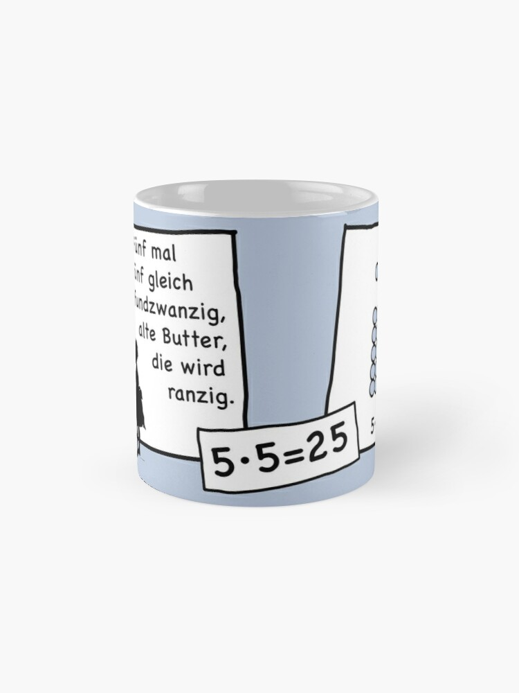 Alternate view of Cocoa with brains | 5x5 comprehension and retention with learning cups at breakfast | 1 Times Square Numbers | Summer colors series Mug