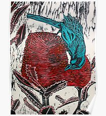 Blue Bird Woodcut Poster