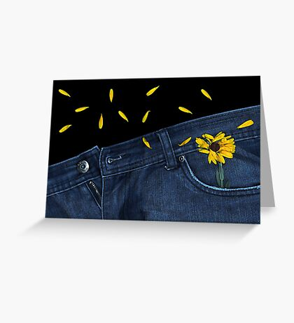 """Blue Jeans and Calendula"" Greeting Card"
