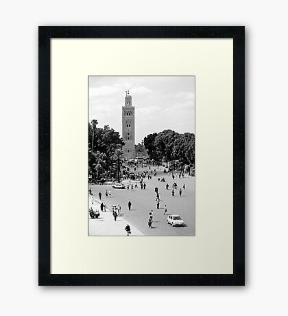 Jemaa El Fna & Koutoubia Mosque Framed Print