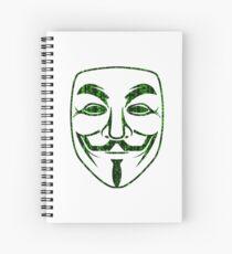 Green Matrix Rain Guy Fawkes Spiral Notebook