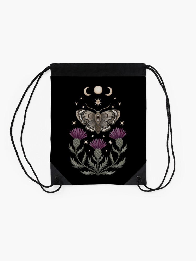 Alternate view of Thistle and moth Drawstring Bag