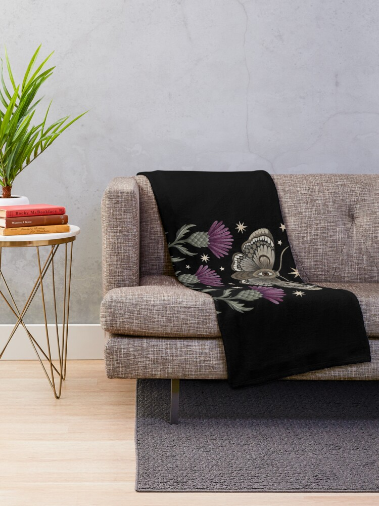 Alternate view of Thistle and moth Throw Blanket