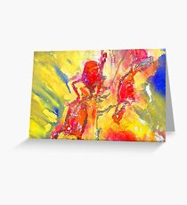 Abstract Snapdragon flower Screen Print Greeting Card