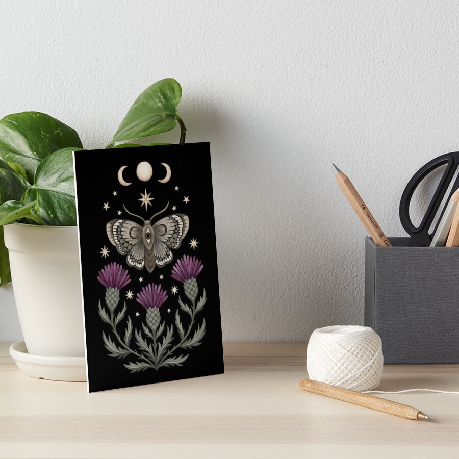 Thistle and moth Art Board Print