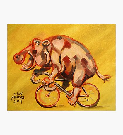 Hippo On A Bicycle 2 Photographic Print