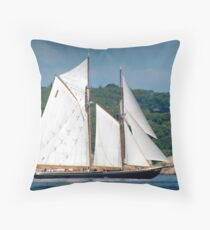 Bluenose II Sail into Gloucester Harbor Throw Pillow