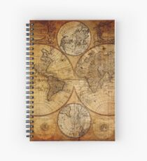 Old vintage world's map Spiral Notebook