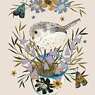 Bird and florals by Susan Mitchell