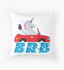 BRB Unicorn Emoji JoyPixels Be Right Back Throw Pillow