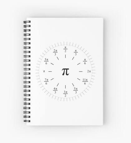 Pi Radians Clock face - Unit Circle v001 Spiral Notebook