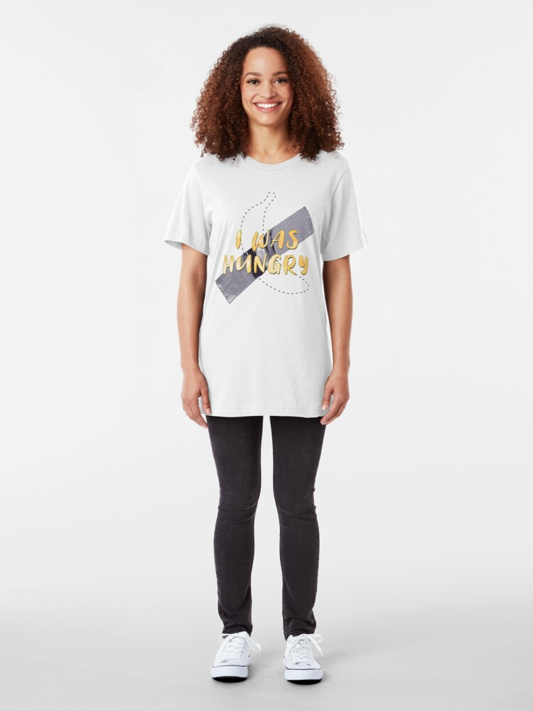 Alternate view of Taped Banana Missing - I Was Hungry Slim Fit T-Shirt