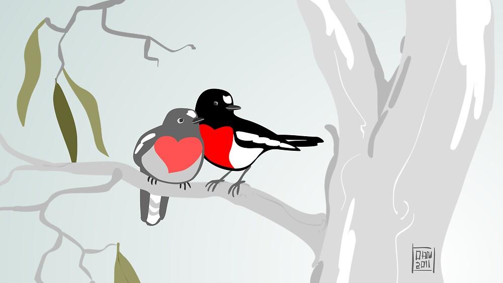 Scarlet Robins in Love by Dan Monceaux