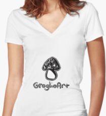 GroglioArt Mushroom Fitted V-Neck T-Shirt